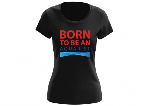 T-shirt damski BORN TO BE AN AQUARIST XL czarny