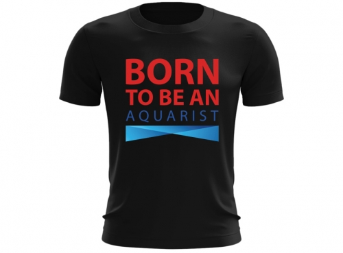 T-shirt męski BORN TO BE AN AQUARIST czarny